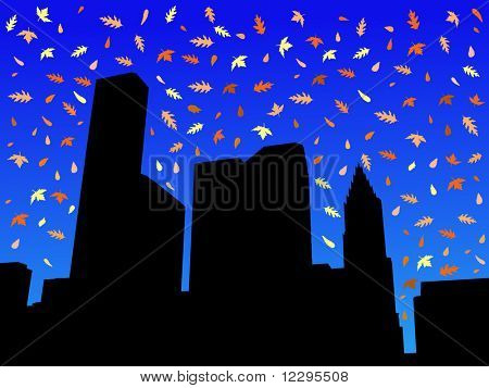 Houston skyline in autumn with falling leaves illustration