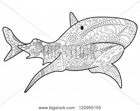 Shark sea animal coloring book for adults vector illustration. Anti-stress coloring for adult. Zentangle style. Black and white lines. Lace pattern