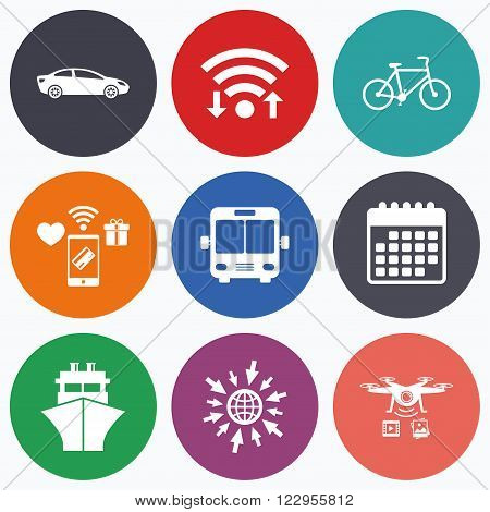 Wifi, mobile payments and drones icons. Transport icons. Car, Bicycle, Public bus and Ship signs. Shipping delivery symbol. Family vehicle sign. Calendar symbol.