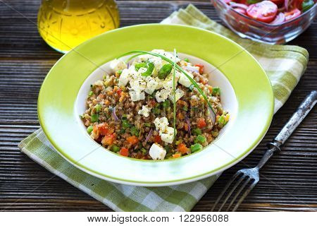 Amaranth And Buckwheat With Vegetables And Feta Cheese