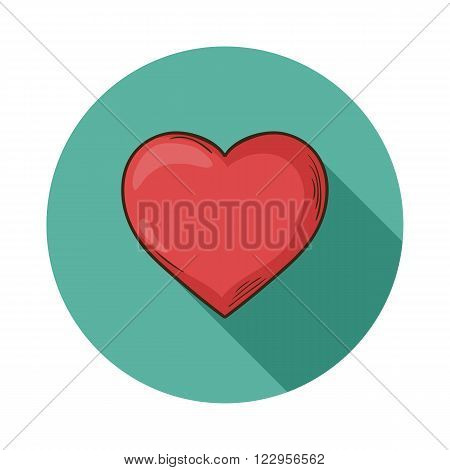 Heart  icon.Vector Heart icon isolated with shadow.Hand draw Heart vector.Vector red heart icon isolated with shadow