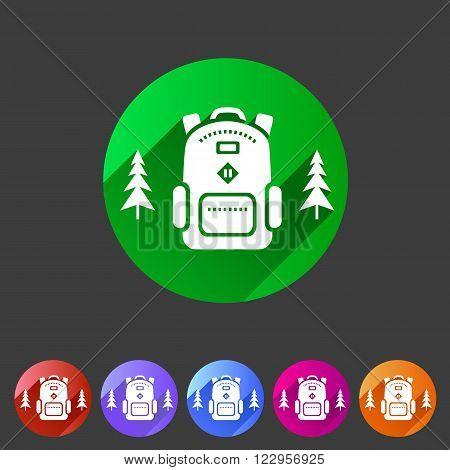 Travel rucksack, backpack icon flat web sign symbol logo label set