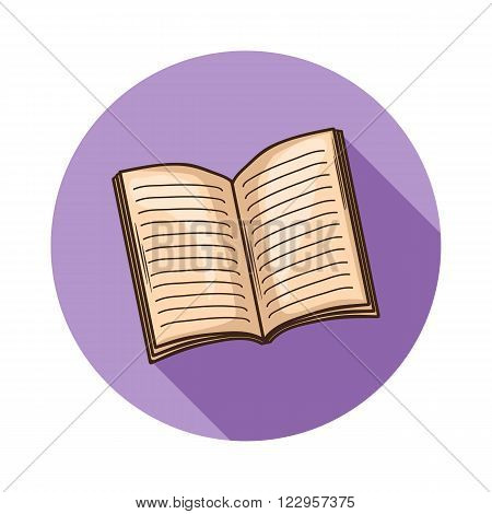 Open Book or magazine icon.Vector open book icon isolated with shadow.Hand draw book vector.Open book, magazine vector icon isolated.