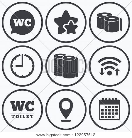 Clock, wifi and stars icons. Toilet paper icons. Gents and ladies room signs. Paper towel or kitchen roll. Speech bubble symbol. Calendar symbol.