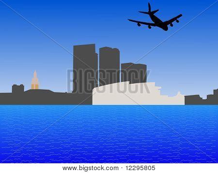 quatro motor de vôo de avião sobre o horizonte de Miami Bayside