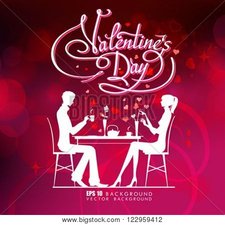 Happy valentine day couple sitting at the table. Valentine day, text valentine, Holiday valentine day illustration