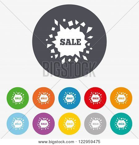 Sale icon. Cracked hole symbol. Circle colourful buttons.