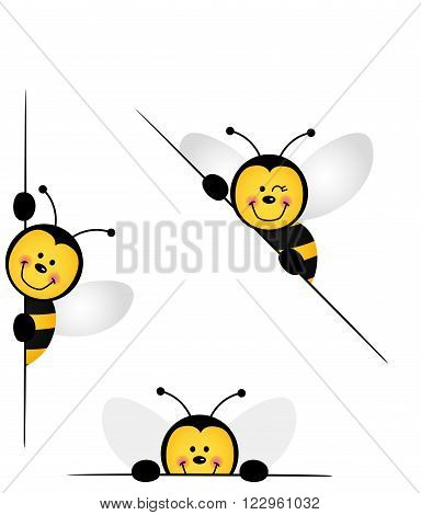 Scalable vectorial image representing a bee peeking from behind in various positions, isolated on white.