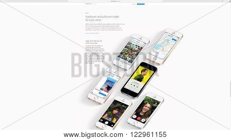 PARIS FRANCE - MAR 23 2016: Results of the latest Apple keynote with the Apple.com website presenting the all colors of iPhone SE and the new iOS 9.3 advantages
