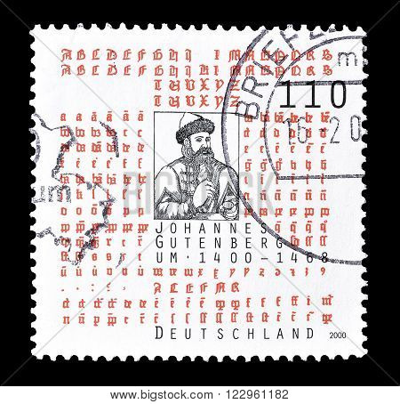 GERMANY - CIRCA 2000 : Cancelled postage stamp printed by Germany, that shows Johannes Gutenberg.