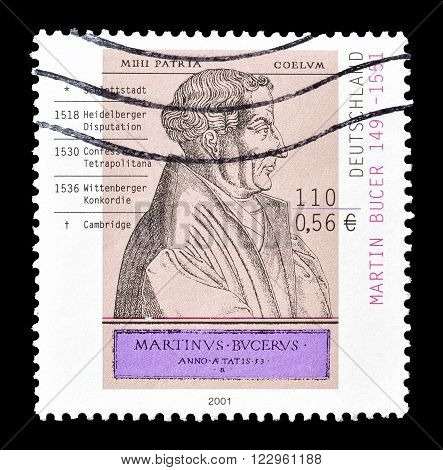 GERMANY - CIRCA 2001 : Cancelled postage stamp printed by Germany, that shows Martin Bucer.