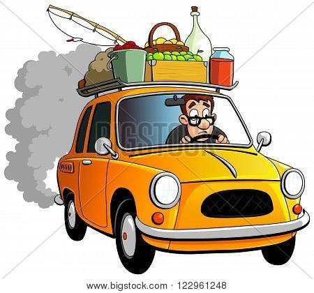 Cartoon farmer and yellow car with baggage