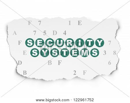 Protection concept: Security Systems on Torn Paper background