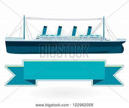 Legendary colossal boat, monumental big ship symbol. Big blue boat, icon flatten isolated illustration master vector.