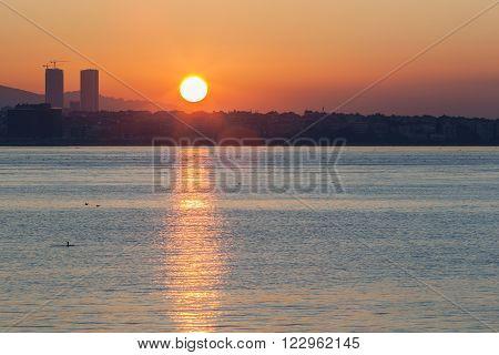 Turkey, Istanbul dawn sun on the Sea of Marmara.