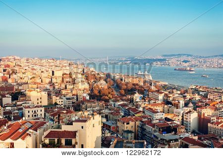 Panoramic view of Bosphorus from Galata tower, Istanbul, Turkey