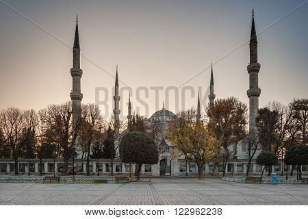 Istanbul.Turkey. Hippodrome. Blue Mosque (Sultan Ahmet Camii Mosque) in the Sultanahmet area of Istanbul in Turkey.