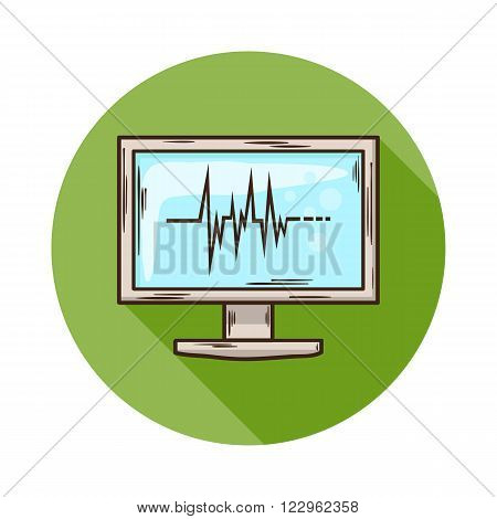 ECG Monitor icon.Vector Medical ECG Monitor icon isolated with shadow.Hand draw ECG Monitor vector.ECG Monitor vector icon isolated.ECG Monitor for medicines research and health care.Doctor equipment