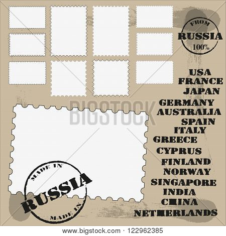 a set of stamps and printing with the country