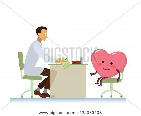 healthy cheerful heart on consultation with a doctor cardiologist, who read cardiogram - cartoon vector stylization symbol - World Health Day