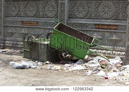 Garbage In The Street Of Phnom Phen, Cambodia