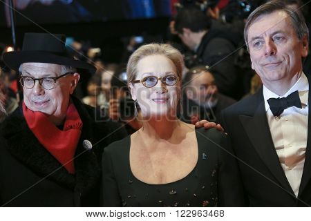 Festival director Dieter Kosslick, Meryl Streep, Nick James  attend the closing ceremony of the 66th Berlinale International Film Festival on February 20, 2016 in Berlin, Germany.