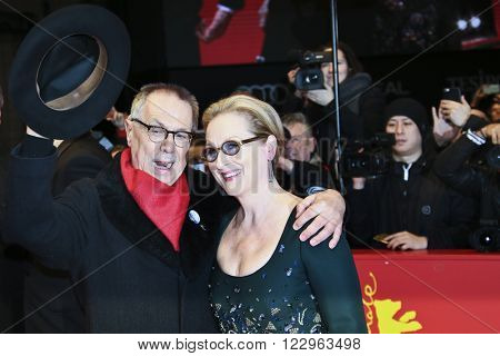 Meryl Streep and festival director Dieter Kosslick attend the closing ceremony of the 66th Berlinale International Film Festival on February 20, 2016 in Berlin, Germany.