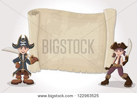 Big pirate map and cartoon pirate children
