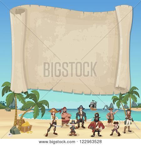 Big pirate map and cartoon pirates on a beautiful tropical beach