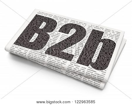 Finance concept: B2b on Newspaper background