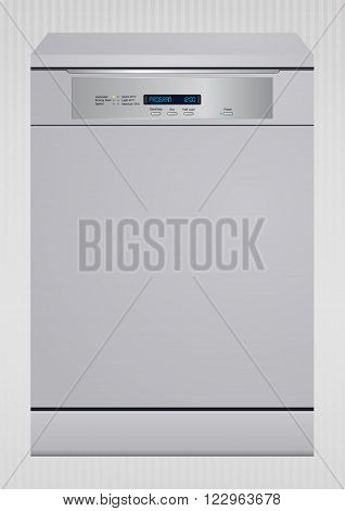 vector illustration of modern dishwasher digital version