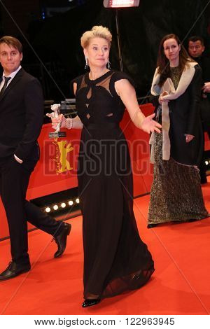 Trine Dyrholm poses on the red carpet after the closing ceremony of the 66th Berlinale International Film Festival on February 20, 2016 in Berlin, Germany.