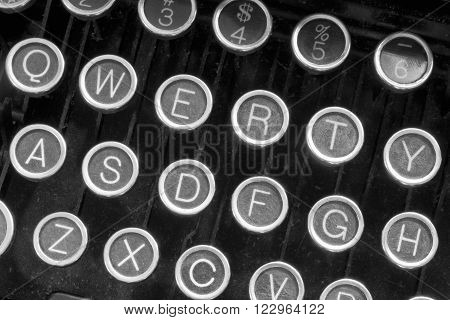 An Antique Typewriter Showing Traditional QWERTY Keys XII ** Note: Visible grain at 100%, best at smaller sizes