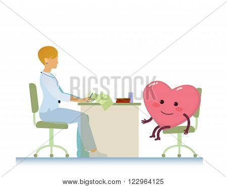 healthy cheerful heart on consultation with a doctor woman cardiologist, who read cardiogram - cartoon vector stylization symbol - World Health Day
