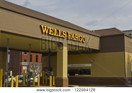 Peru IN - Circa March 2016: A Wells Fargo Retail Bank Branch. Wells Fargo is a Provider of Financial Services I