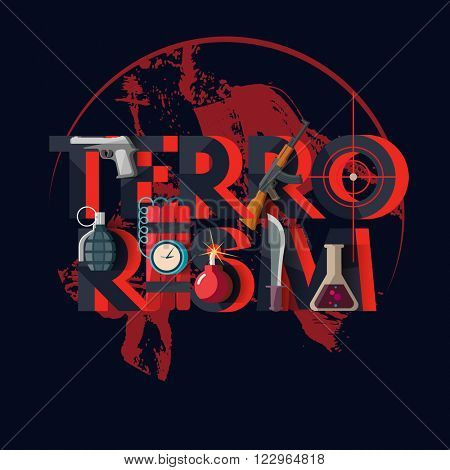International terrorism. Typographic poster.