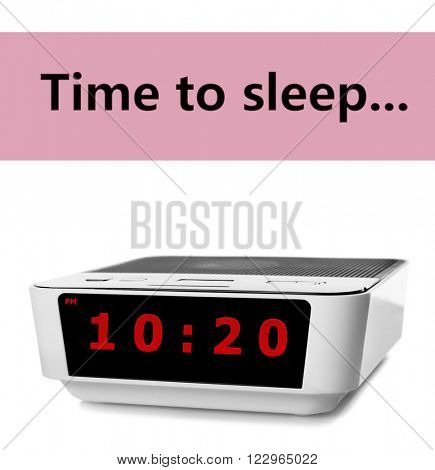 Digital clock showing 10:20 o'clock isolated on white