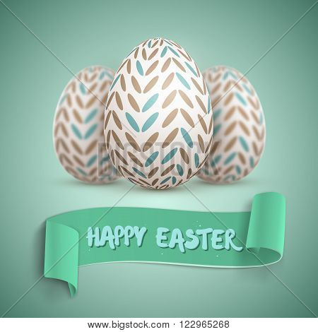 Illustration of Realistic Happy Easter Vector Easter Egg Set. Painted Vector Egg Set with Ribbon Banner and DOF Photography Effect