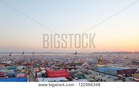 ALLAHABAD, INDIA - FEBRUARY 08, 2013: Aerial panorama view of Maha Kumbh Mela festival camp, the world's largest religious gathering
