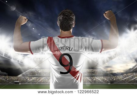 Peruvian soccer player in the stadium