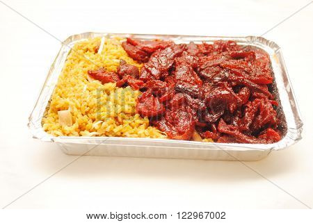 Chinese (American) Boneless Ribs with Pork Fried Rice in a Takeout Container