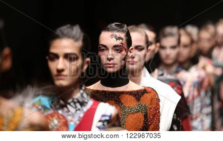 ISTANBUL, TURKEY - MARCH 18, 2016: Models showcase the latest creations of Bashaques in Mercedes-Benz Fashion Week Istanbul