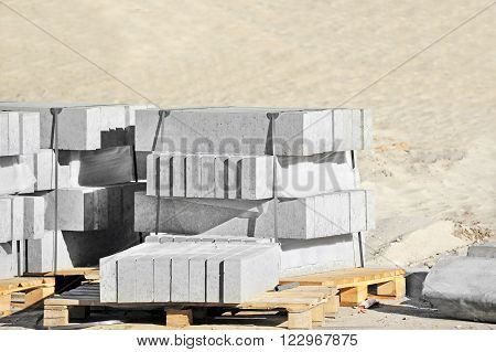 Stack of paving stone on construction site