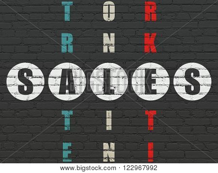 Marketing concept: Sales in Crossword Puzzle