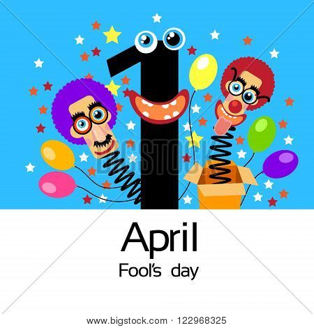 Fool Day Comic Crazy Clown Head In Surprise Box April Holiday Greeting Card Banner Flat Vector Illustration