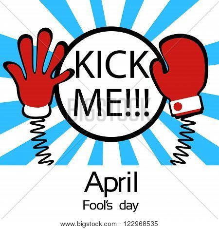 Hands On Spring Kick Me Fool Day April Holiday Greeting Card Banner Vector Illustration