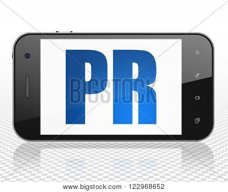 Marketing concept: Smartphone with PR on display