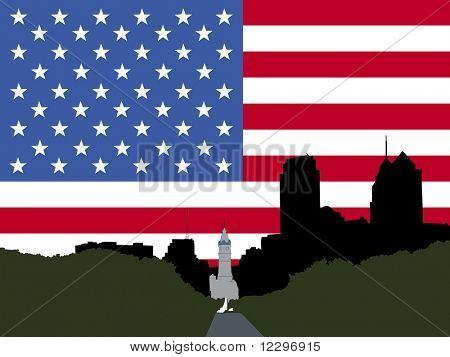 city hall and Benjamin franklin Parkway Philadelphia with American flag JPG