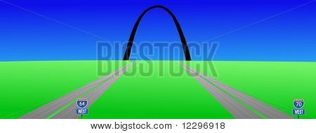 two interstates leading to Gateway arch St louis JPG