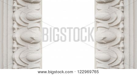 Luxury white wall design with mouldings in classic style.